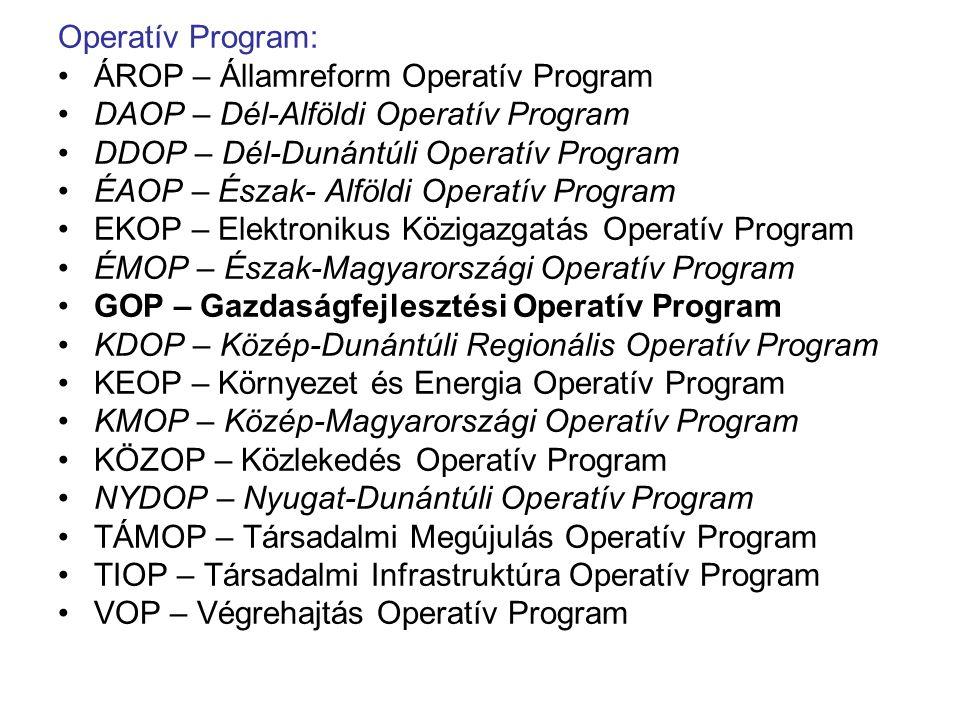 Operatív Program: ÁROP – Államreform Operatív Program DAOP – Dél-Alföldi Operatív Program DDOP – Dél-Dunántúli Operatív Program ÉAOP – Észak- Alföldi