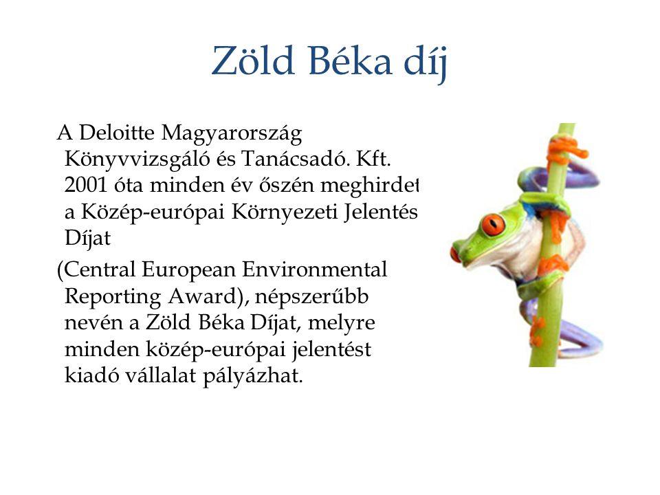 Zöld Béka díj A Deloitte Magyarország Könyvvizsgáló és Tanácsadó. Kft. 2001 óta minden év őszén meghirdeti a Közép-európai Környezeti Jelentés Díjat (