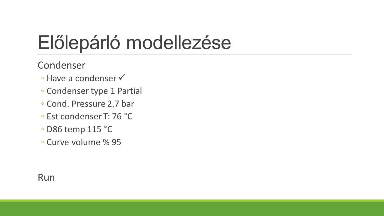 Előlepárló modellezése Condenser ◦Have a condenser ◦Condenser type 1 Partial ◦Cond.