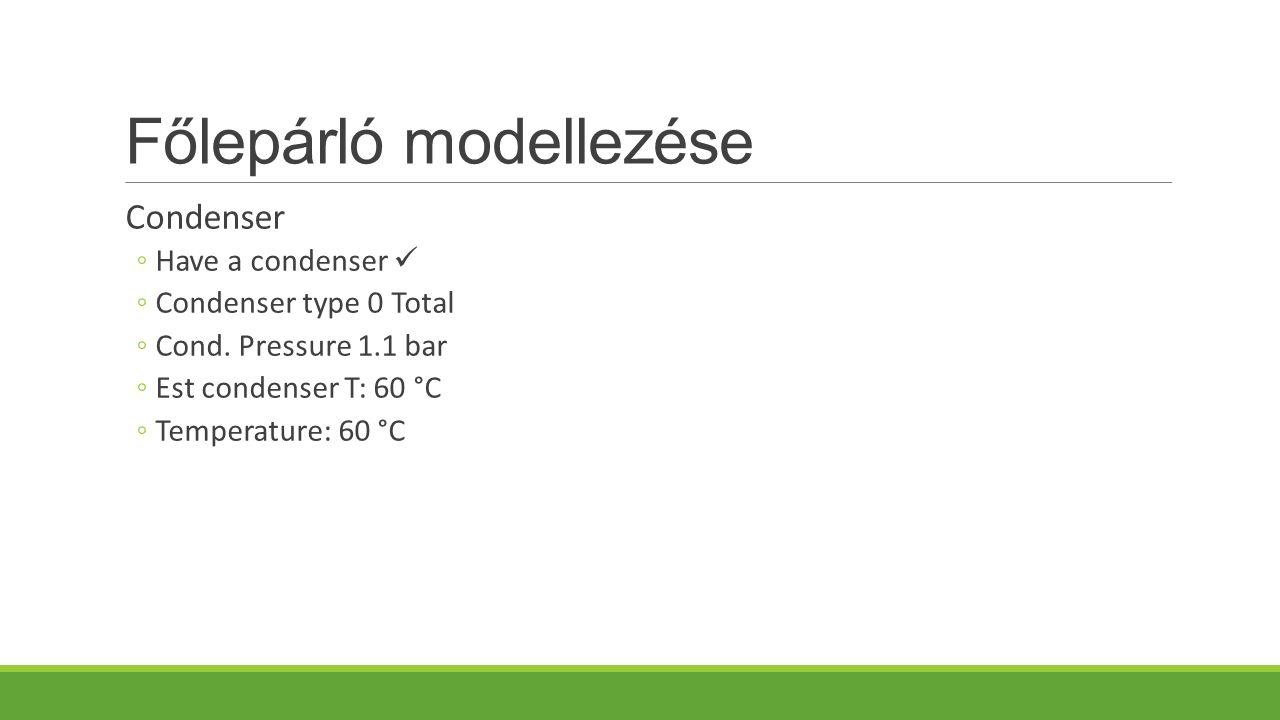 Főlepárló modellezése Condenser ◦Have a condenser ◦Condenser type 0 Total ◦Cond.