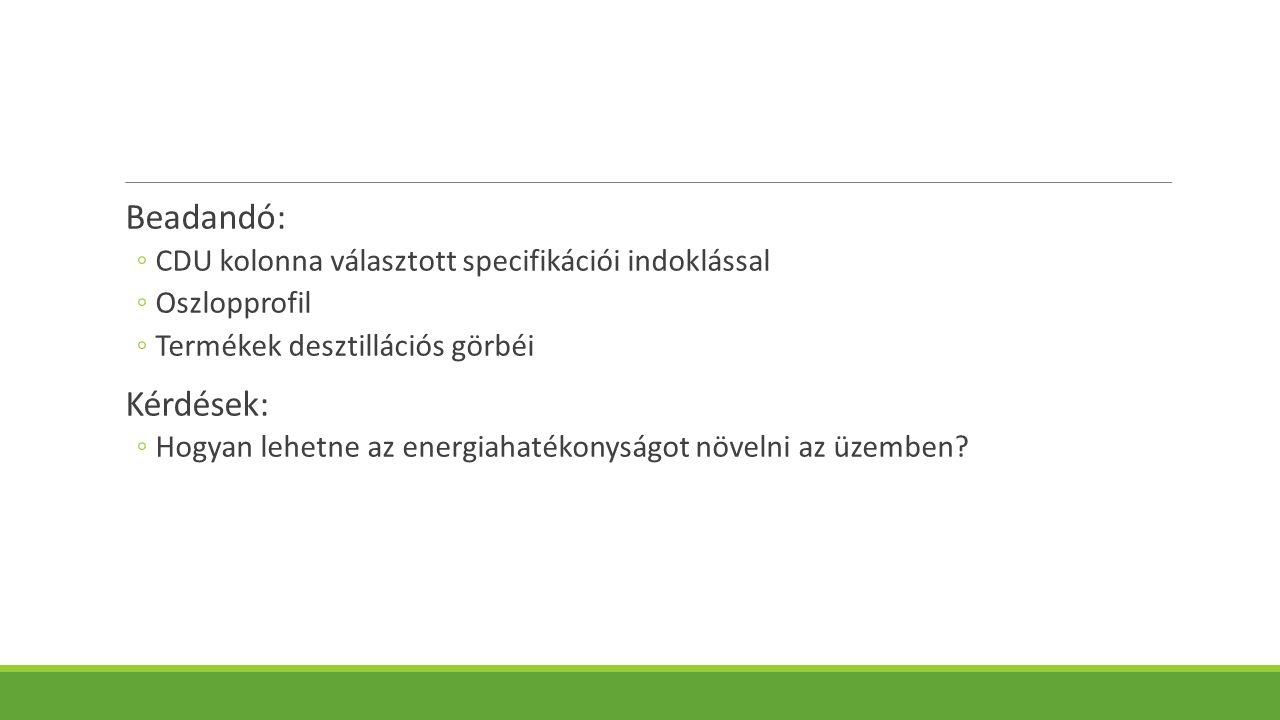 Beadandó: ◦CDU kolonna választott specifikációi indoklással ◦Oszlopprofil ◦Termékek desztillációs görbéi Kérdések: ◦Hogyan lehetne az energiahatékonyságot növelni az üzemben?