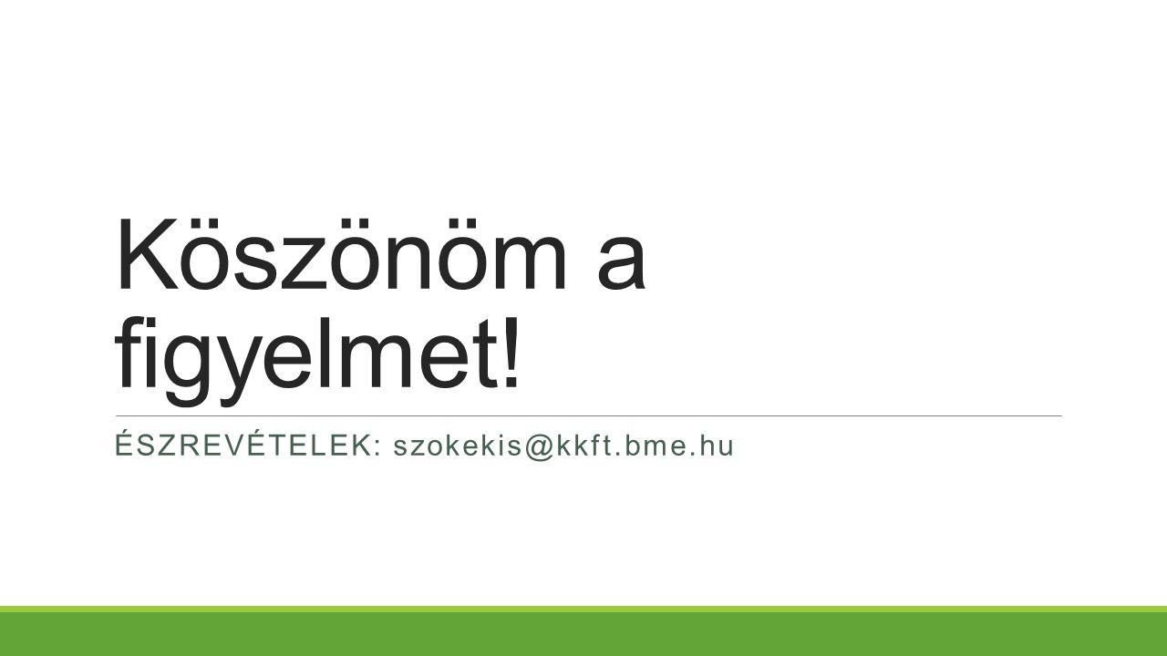 Köszönöm a figyelmet! ÉSZREVÉTELEK: szokekis@kkft.bme.hu