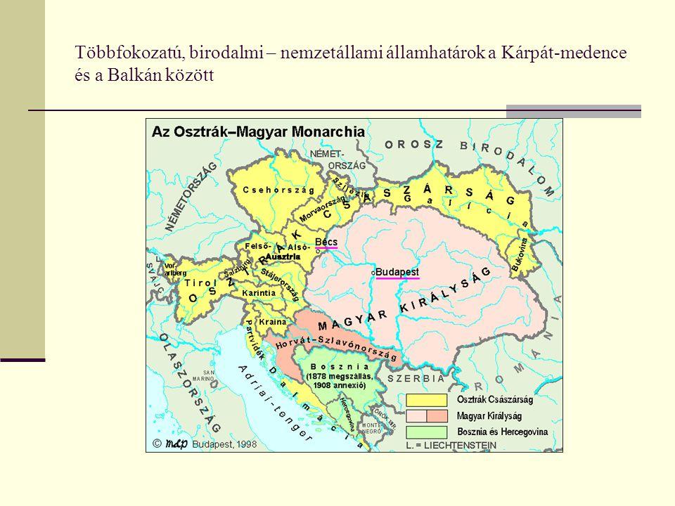 Többfokozatú, birodalmi – nemzetállami államhatárok a Kárpát-medence és a Balkán között