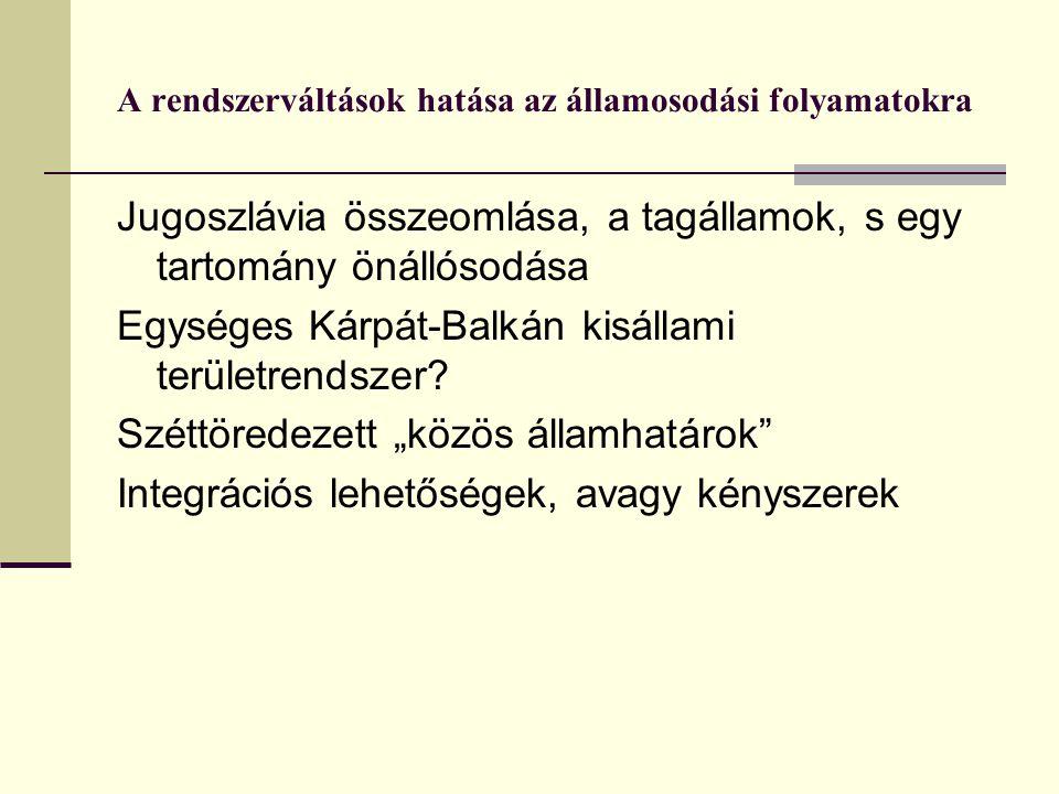 A rendszerváltások hatása az államosodási folyamatokra Jugoszlávia összeomlása, a tagállamok, s egy tartomány önállósodása Egységes Kárpát-Balkán kisállami területrendszer.