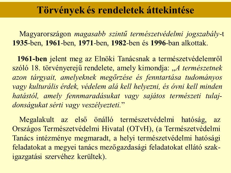 Törvények és rendeletek áttekintése Magyarországon magasabb szintű természetvédelmi jogszabály-t 1935-ben, 1961-ben, 1971-ben, 1982-ben és 1996-ban al