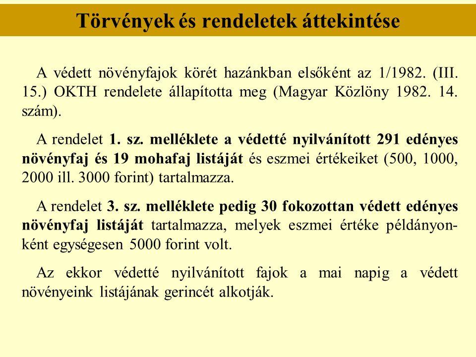 Törvények és rendeletek áttekintése A védett növényfajok körét hazánkban elsőként az 1/1982. (III. 15.) OKTH rendelete állapította meg (Magyar Közlöny