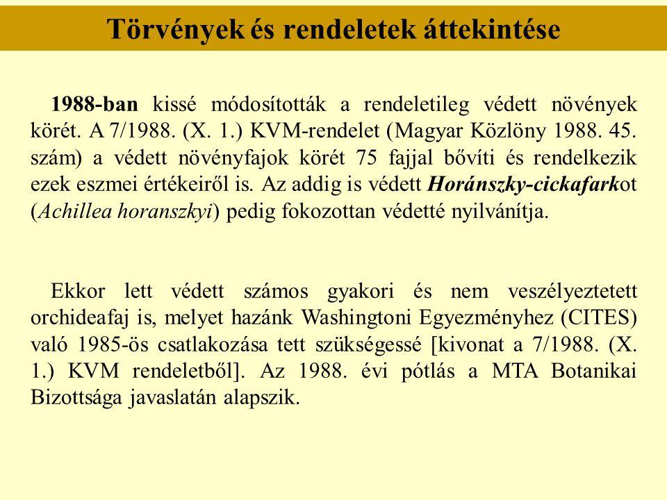 Törvények és rendeletek áttekintése 1988-ban kissé módosították a rendeletileg védett növények körét. A 7/1988. (X. 1.) KVM-rendelet (Magyar Közlöny 1