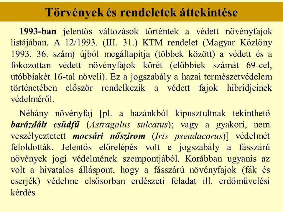 Törvények és rendeletek áttekintése 1993-ban jelentős változások történtek a védett növényfajok listájában. A 12/1993. (III. 31.) KTM rendelet (Magyar