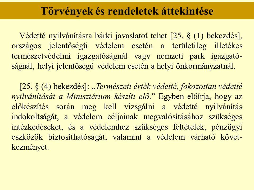 Törvények és rendeletek áttekintése Védetté nyilvánításra bárki javaslatot tehet [25. § (1) bekezdés], országos jelentőségű védelem esetén a területil