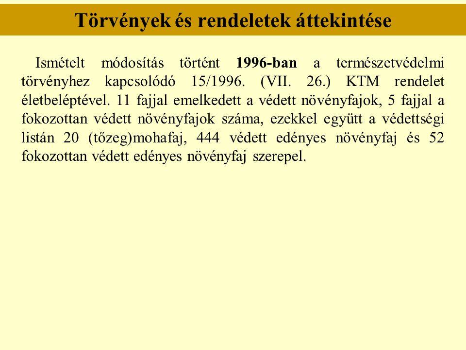 Törvények és rendeletek áttekintése Ismételt módosítás történt 1996-ban a természetvédelmi törvényhez kapcsolódó 15/1996. (VII. 26.) KTM rendelet élet