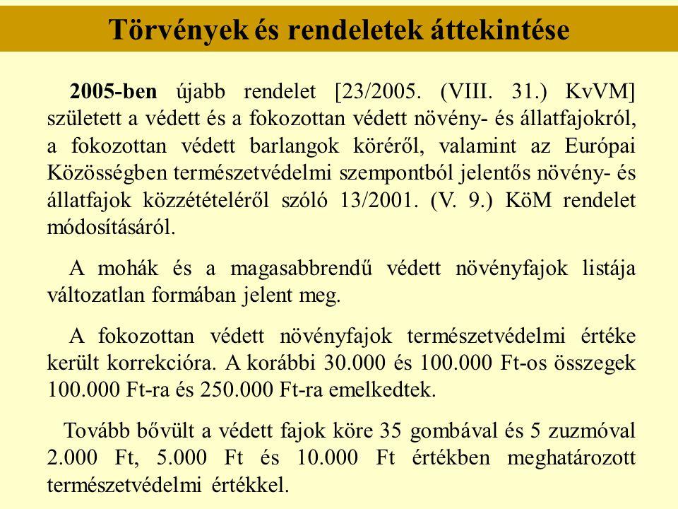 Törvények és rendeletek áttekintése 2005-ben újabb rendelet [23/2005. (VIII. 31.) KvVM] született a védett és a fokozottan védett növény- és állatfajo
