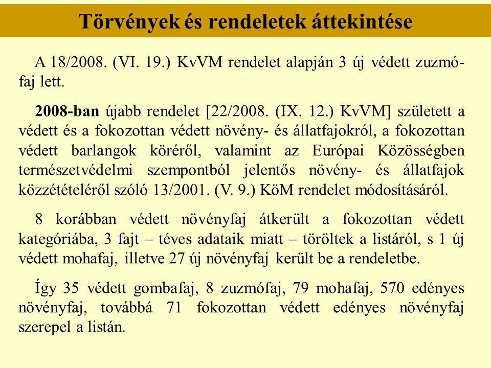 Törvények és rendeletek áttekintése A 18/2008. (VI. 19.) KvVM rendelet alapján 3 új védett zuzmó- faj lett. 2008-ban újabb rendelet [22/2008. (IX. 12.