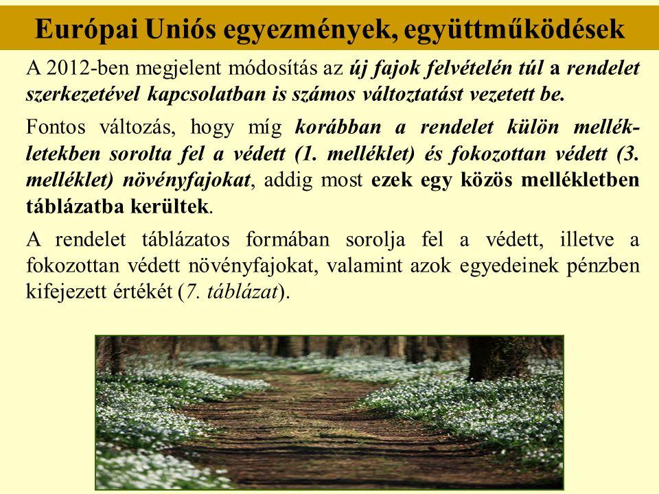 Európai Uniós egyezmények, együttműködések A 2012-ben megjelent módosítás az új fajok felvételén túl a rendelet szerkezetével kapcsolatban is számos v
