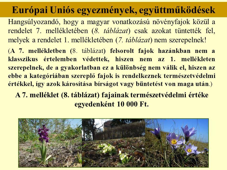 Európai Uniós egyezmények, együttműködések Hangsúlyozandó, hogy a magyar vonatkozású növényfajok közül a rendelet 7. mellékletében (8. táblázat) csak