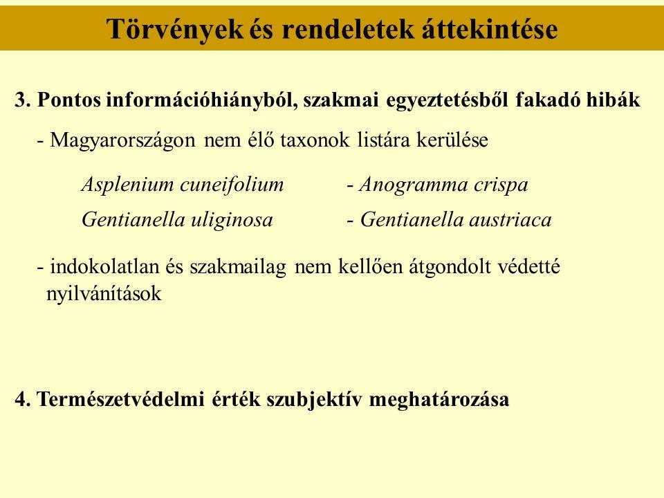 Törvények és rendeletek áttekintése 3. Pontos információhiányból, szakmai egyeztetésből fakadó hibák - Magyarországon nem élő taxonok listára kerülése