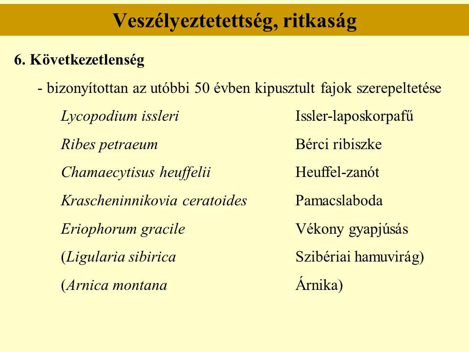 Veszélyeztetettség, ritkaság 6. Következetlenség - bizonyítottan az utóbbi 50 évben kipusztult fajok szerepeltetése Lycopodium issleriIssler-laposkorp