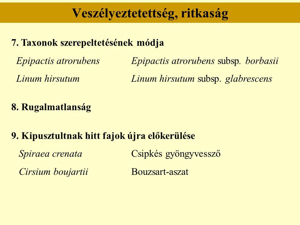 Veszélyeztetettség, ritkaság 7. Taxonok szerepeltetésének módja Epipactis atrorubensEpipactis atrorubens subsp. borbasii Linum hirsutum Linum hirsutum