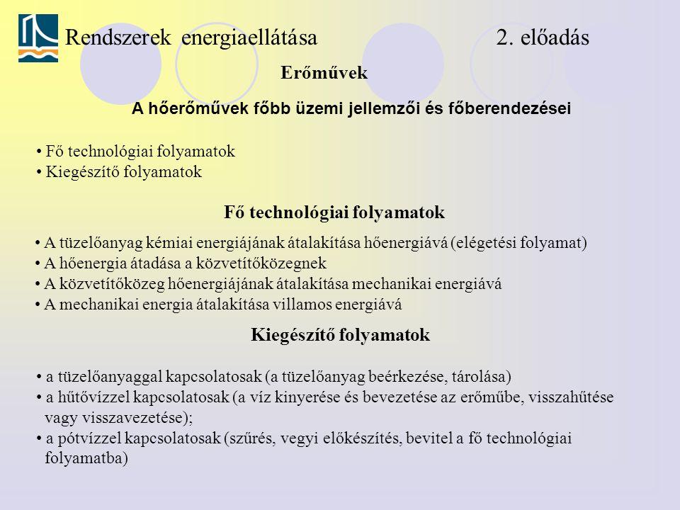 Rendszerek energiaellátása 2. előadás Fő technológiai folyamatok Erőművek A hőerőművek főbb üzemi jellemzői és főberendezései Fő technológiai folyamat