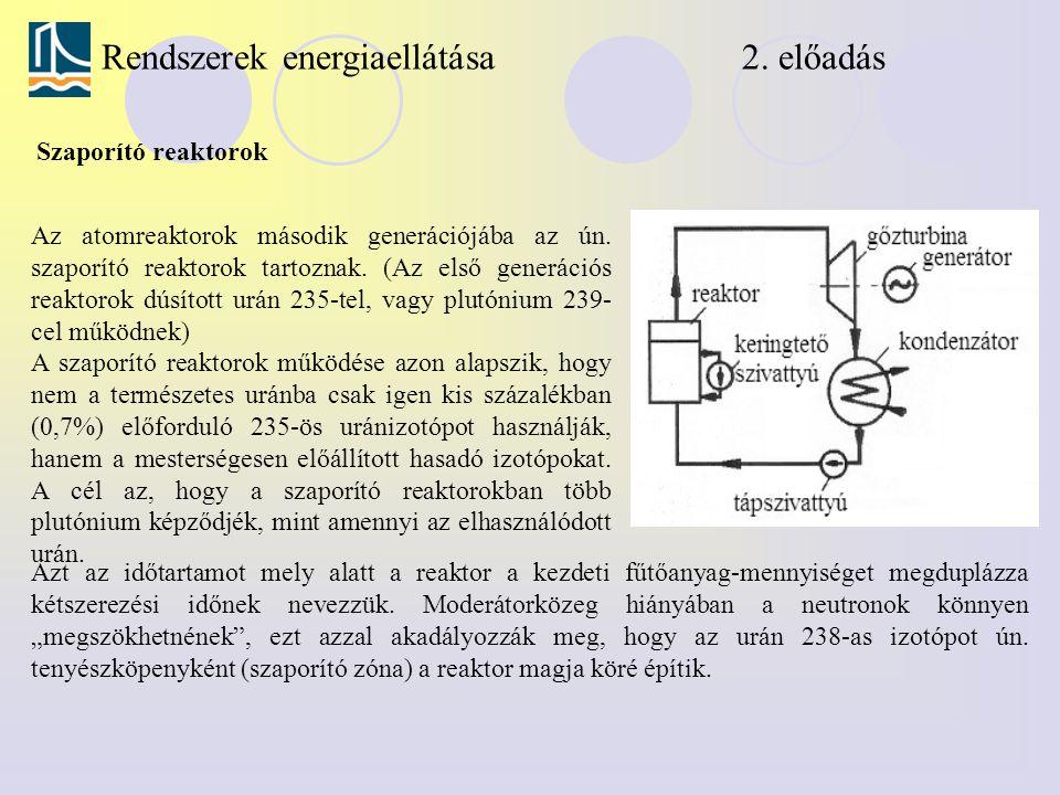 Rendszerek energiaellátása 2. előadás Szaporító reaktorok Az atomreaktorok második generációjába az ún. szaporító reaktorok tartoznak. (Az első generá
