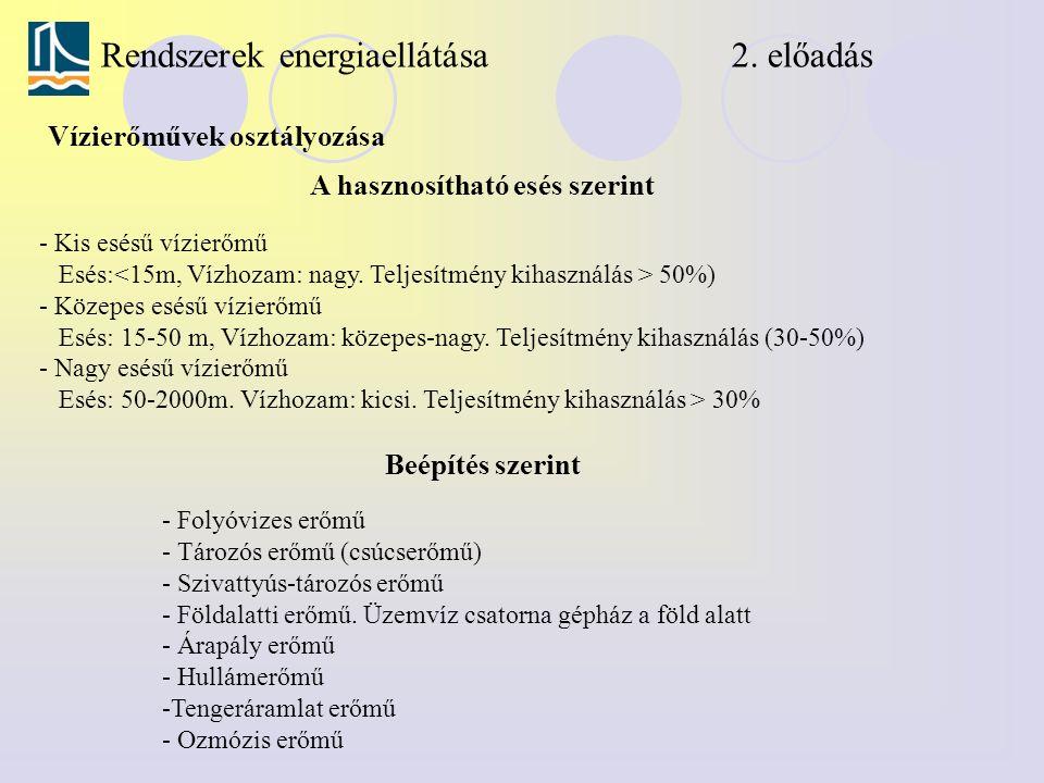 Rendszerek energiaellátása 2. előadás Vízierőművek osztályozása A hasznosítható esés szerint - Kis esésű vízierőmű Esés: 50%) - Közepes esésű vízierőm