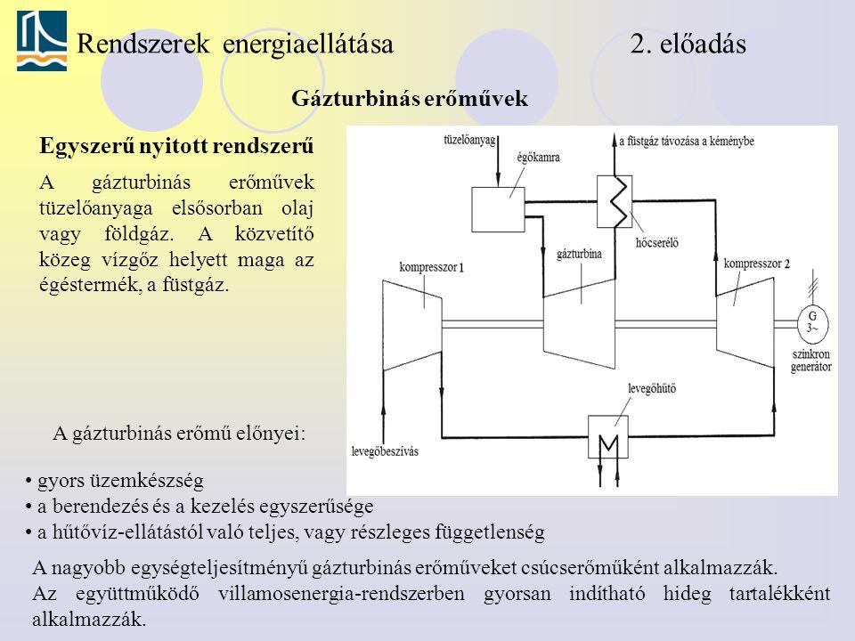 Rendszerek energiaellátása 2. előadás Gázturbinás erőművek A gázturbinás erőművek tüzelőanyaga elsősorban olaj vagy földgáz. A közvetítő közeg vízgőz