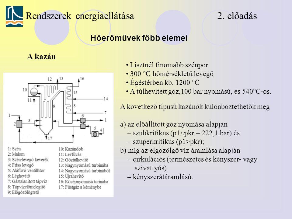 Rendszerek energiaellátása 2. előadás Hőerőművek főbb elemei A kazán Lisztnél finomabb szénpor 300 °C hőmérsékletű levegő Égéstérben kb. 1200 °C A túl
