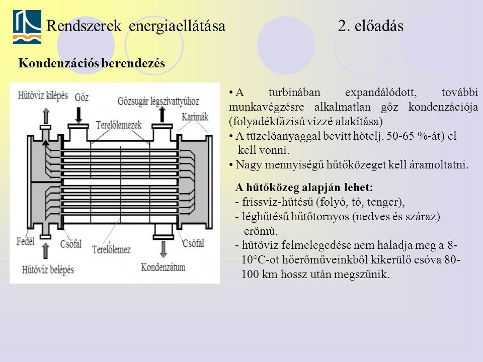 Rendszerek energiaellátása 2. előadás Kondenzációs berendezés A turbinában expandálódott, további munkavégzésre alkalmatlan gőz kondenzációja (folyadé