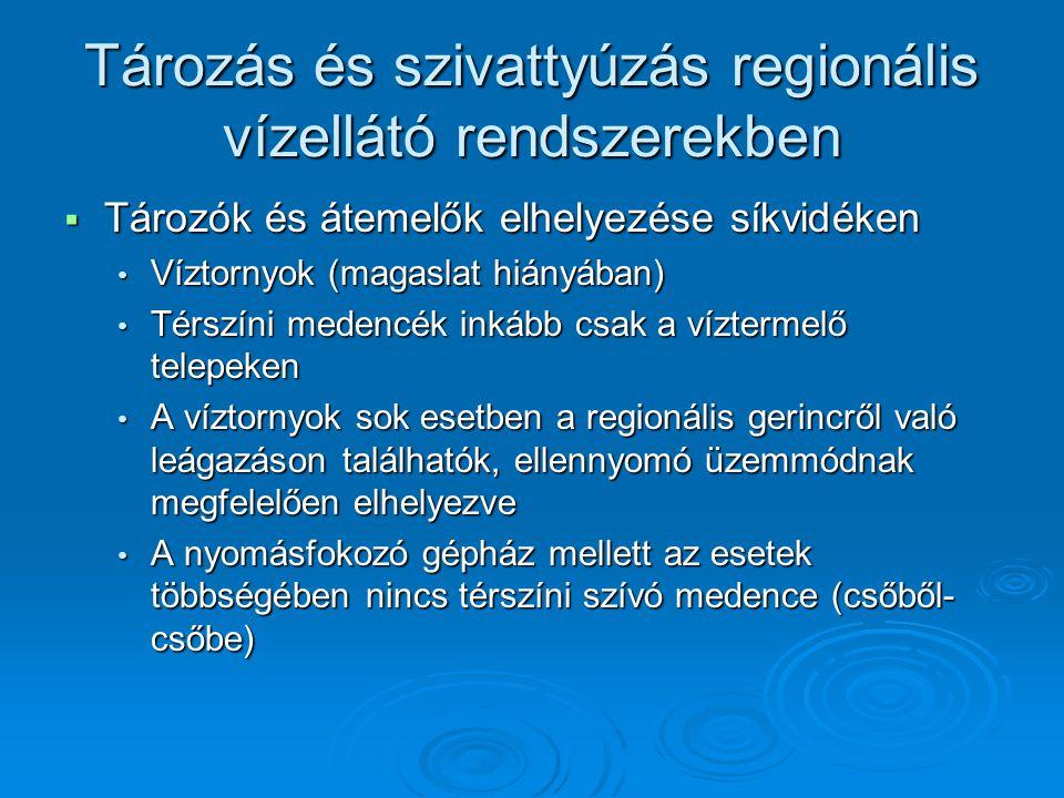 Tározás és szivattyúzás regionális vízellátó rendszerekben  Tározók és átemelők elhelyezése síkvidéken Víztornyok (magaslat hiányában) Víztornyok (ma