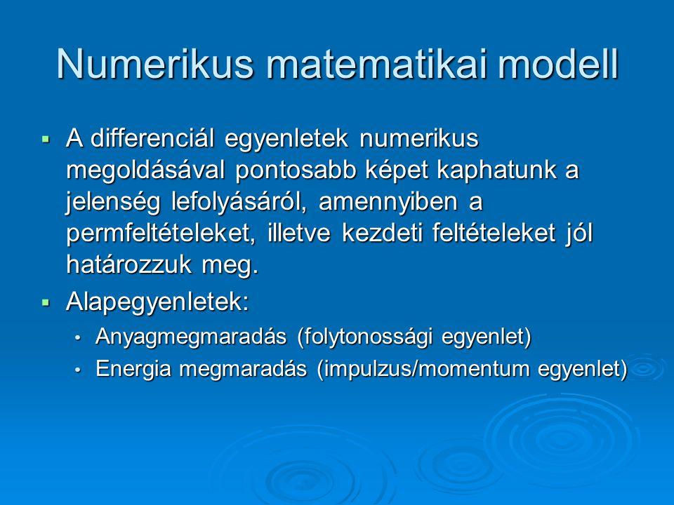 Numerikus matematikai modell  A differenciál egyenletek numerikus megoldásával pontosabb képet kaphatunk a jelenség lefolyásáról, amennyiben a permfe