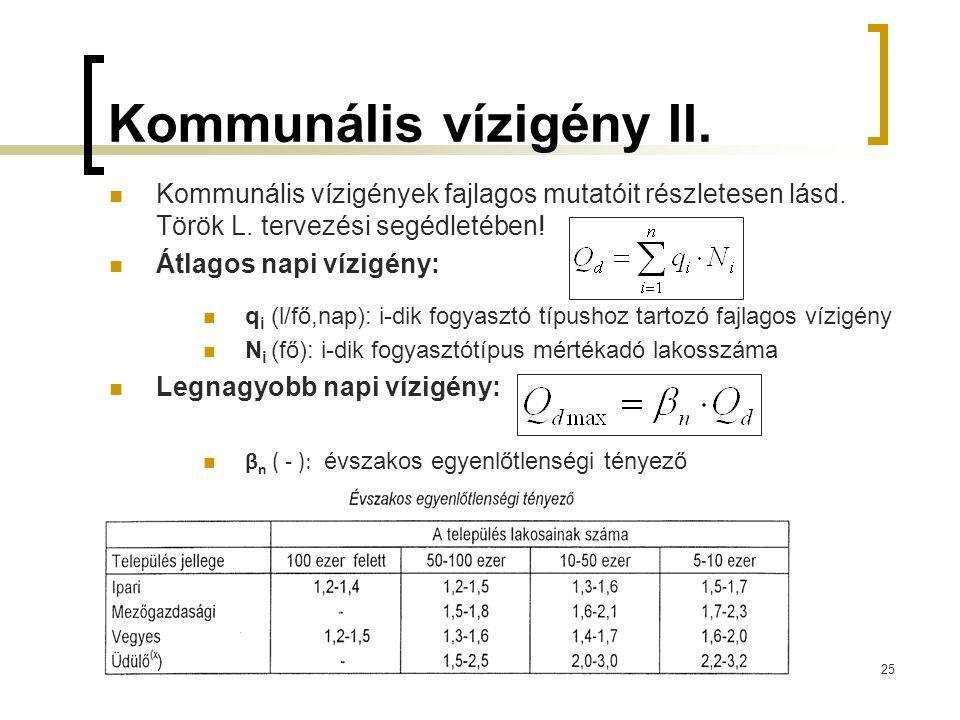 Kommunális vízigény II. Kommunális vízigények fajlagos mutatóit részletesen lásd. Török L. tervezési segédletében! Átlagos napi vízigény: q i (l/fő,na