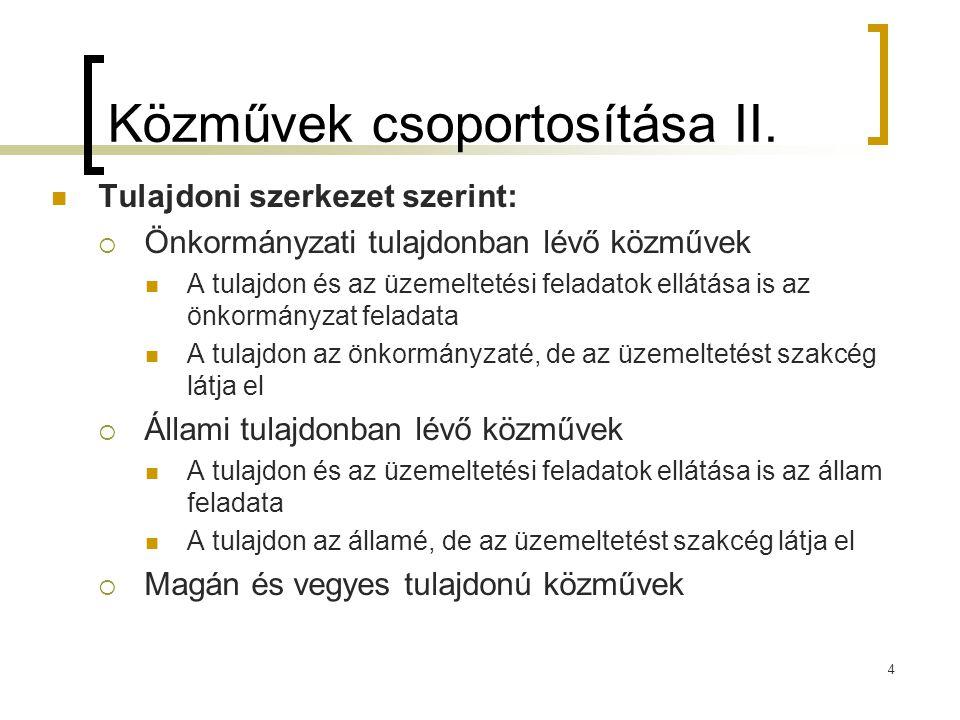 Közművek csoportosítása II. Tulajdoni szerkezet szerint:  Önkormányzati tulajdonban lévő közművek A tulajdon és az üzemeltetési feladatok ellátása is