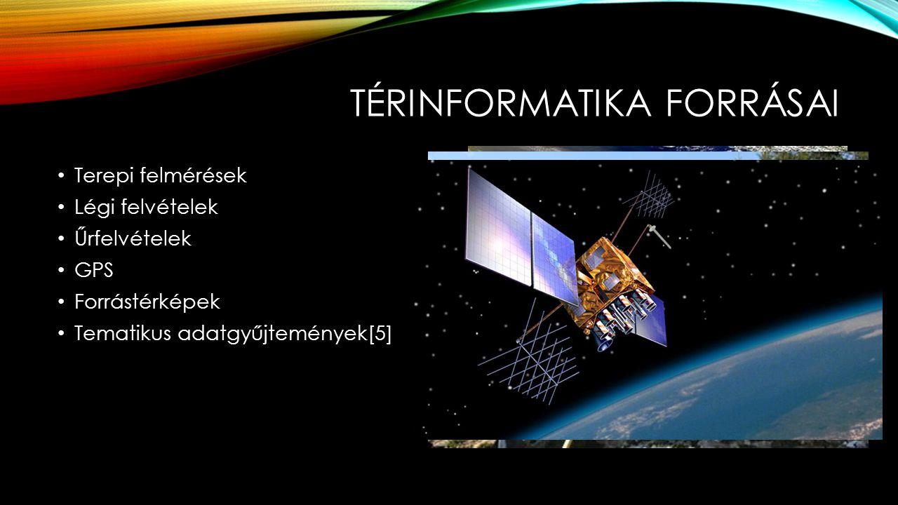 TÉRINFORMATIKA FORRÁSAI Terepi felmérések Légi felvételek Űrfelvételek GPS Forrástérképek Tematikus adatgyűjtemények[5]