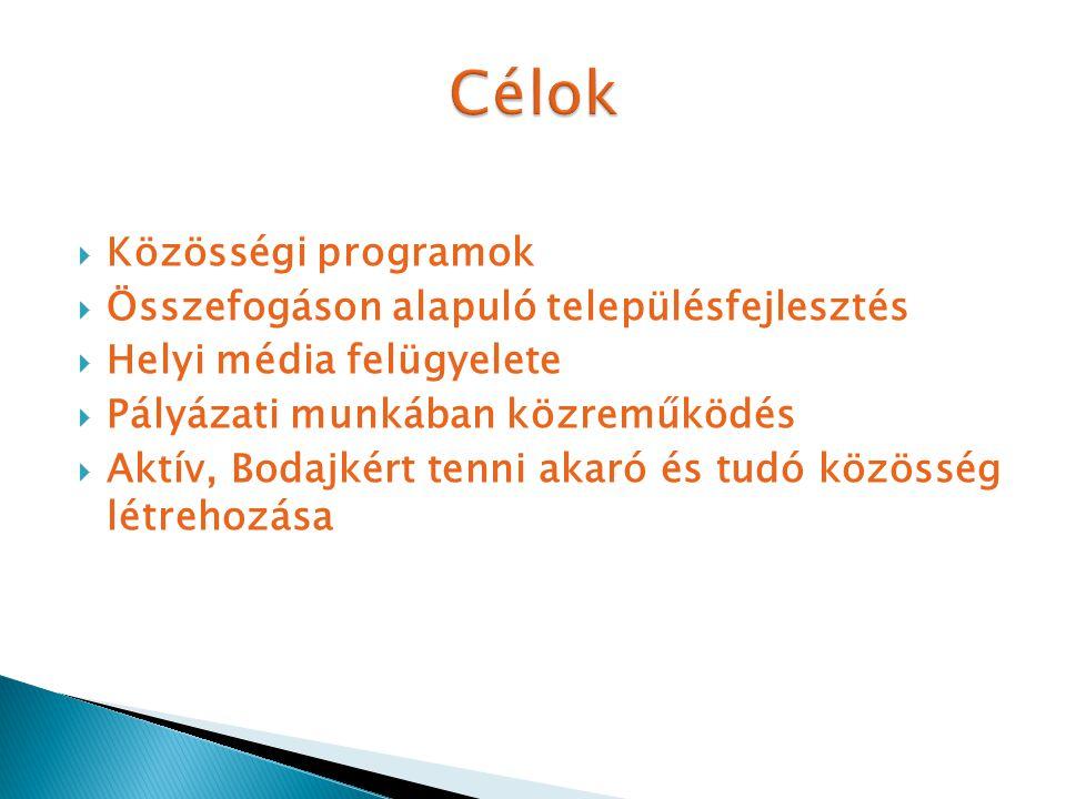  Közösségi programok  Összefogáson alapuló településfejlesztés  Helyi média felügyelete  Pályázati munkában közreműködés  Aktív, Bodajkért tenni akaró és tudó közösség létrehozása