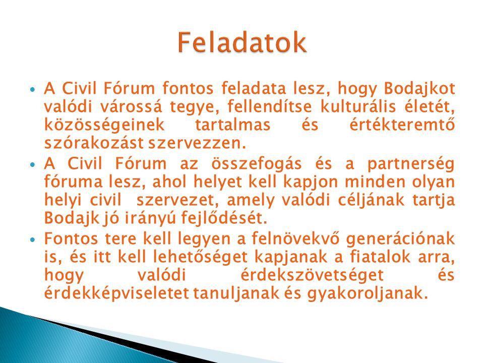A Civil Fórum fontos feladata lesz, hogy Bodajkot valódi várossá tegye, fellendítse kulturális életét, közösségeinek tartalmas és értékteremtő szórakozást szervezzen.