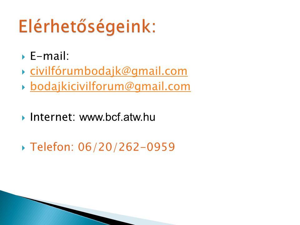  E-mail:  civilfórumbodajk@gmail.com civilfórumbodajk@gmail.com  bodajkicivilforum@gmail.com bodajkicivilforum@gmail.com  Internet: www.bcf.atw.hu  Telefon: 06/20/262-0959