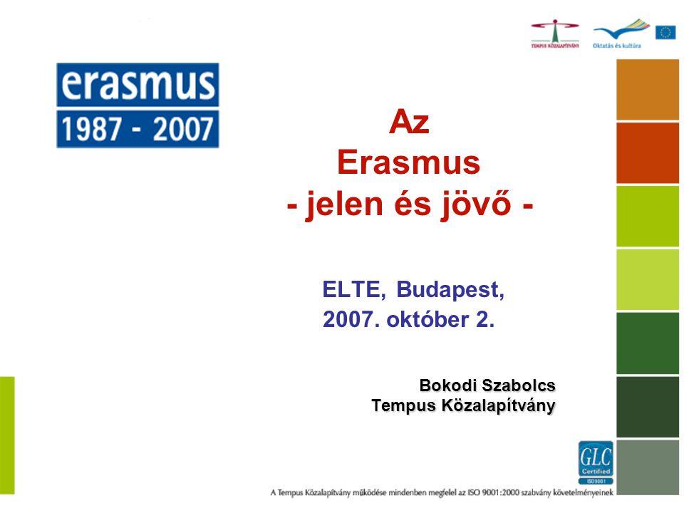 1957 - Római Szerződés 1980 - 1983 - 1000 hallgató 130 oktató 1987 - Erasmus – 3244 hallgató 1997 - Magyarország csatlakozik – 856 hallgató 2002: 1 millió Erasmus hallgató Európában 1987 - 2007 - 1,7 Mio Erasmus hallgató 2006: 200 000 hallg.