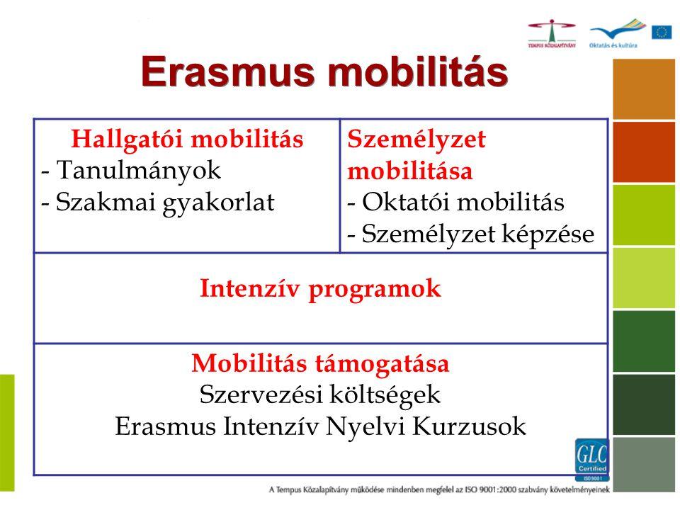 Hallgatói mobilitás - Tanulmányok - Szakmai gyakorlat Személyzet mobilitása - Oktatói mobilitás - Személyzet képzése Intenzív programok Mobilitás támo