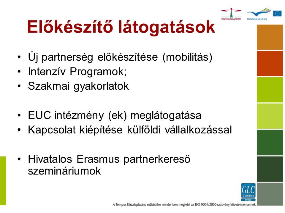 Előkészítő látogatások Új partnerség előkészítése (mobilitás) Intenzív Programok; Szakmai gyakorlatok EUC intézmény (ek) meglátogatása Kapcsolat kiépí