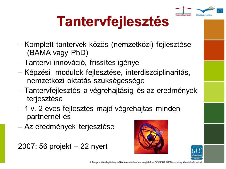 – Komplett tantervek közös (nemzetközi) fejlesztése (BAMA vagy PhD) – Tantervi innováció, frissítés igénye – Képzési modulok fejlesztése, interdiszcip