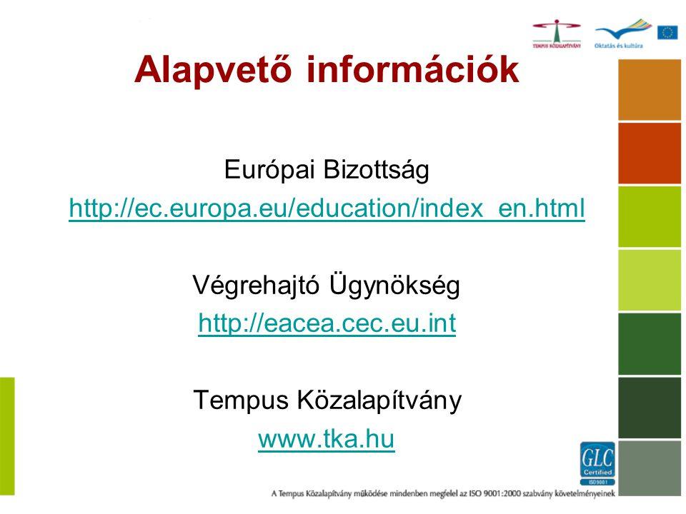 Alapvető információk Európai Bizottság http://ec.europa.eu/education/index_en.html Végrehajtó Ügynökség http://eacea.cec.eu.int Tempus Közalapítvány w