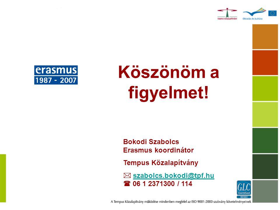 Köszönöm a figyelmet! Bokodi Szabolcs Erasmus koordinátor Tempus Közalapítvány  szabolcs.bokodi@tpf.hu  06 1 2371300 / 114szabolcs.bokodi@tpf.hu
