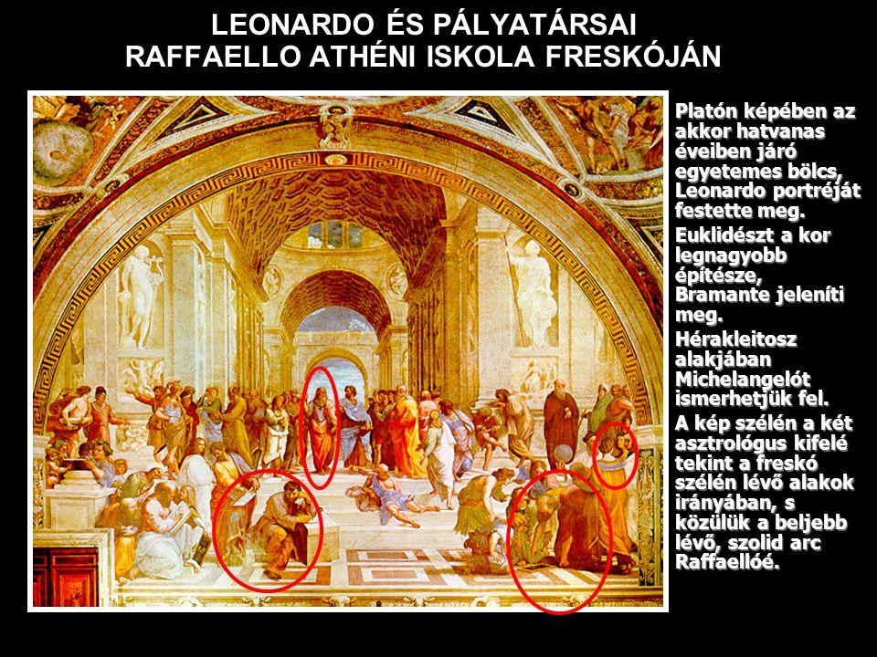 LEONARDO ÉS PÁLYATÁRSAI RAFFAELLO ATHÉNI ISKOLA FRESKÓJÁN Platón képében az akkor hatvanas éveiben járó egyetemes bölcs, Leonardo portréját festette meg.Platón képében az akkor hatvanas éveiben járó egyetemes bölcs, Leonardo portréját festette meg.