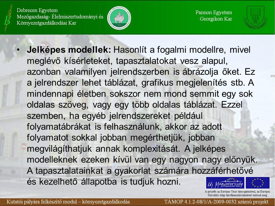 Jelképes modellek: Hasonlít a fogalmi modellre, mivel meglévő kísérleteket, tapasztalatokat vesz alapul, azonban valamilyen jelrendszerben is ábrázolja őket.