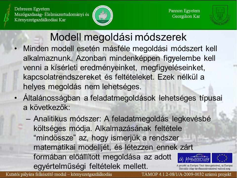 Modell megoldási módszerek Minden modell esetén másféle megoldási módszert kell alkalmaznunk.