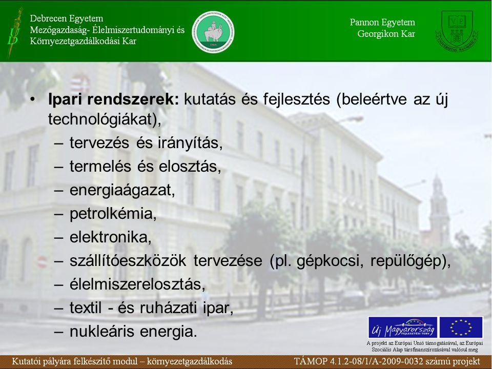 Ipari rendszerek: kutatás és fejlesztés (beleértve az új technológiákat), –tervezés és irányítás, –termelés és elosztás, –energiaágazat, –petrolkémia, –elektronika, –szállítóeszközök tervezése (pl.