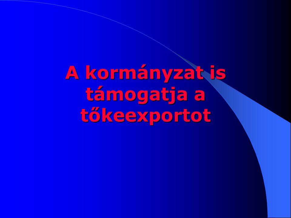 A kormányzat is támogatja a tőkeexportot