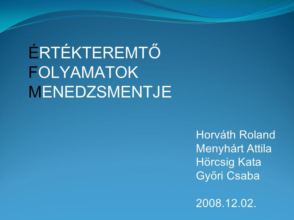 ÉRTÉKTEREMTŐ FOLYAMATOK MENEDZSMENTJE Horváth Roland Menyhárt Attila Hörcsig Kata Győri Csaba 2008.12.02.