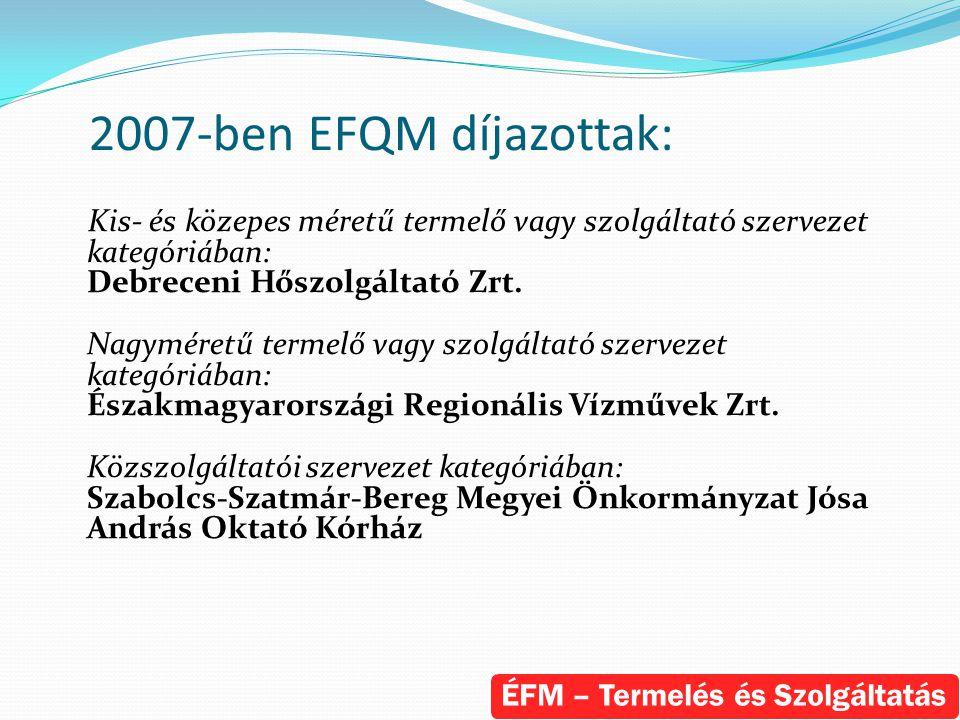 2007-ben EFQM díjazottak: Kis- és közepes méretű termelő vagy szolgáltató szervezet kategóriában: Debreceni Hőszolgáltató Zrt. Nagyméretű termelő vagy