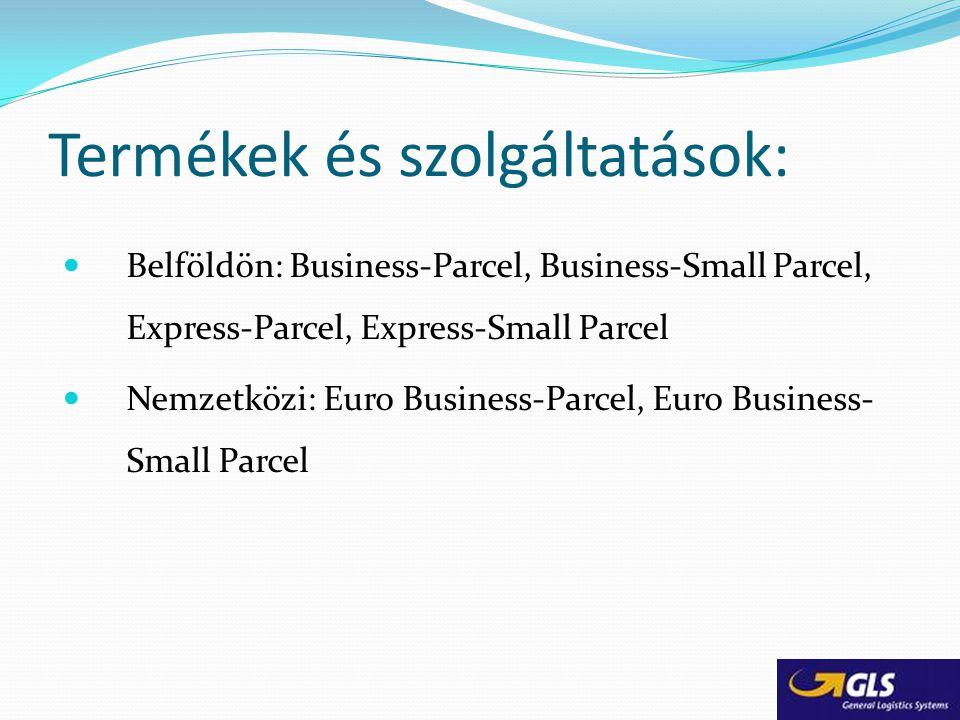 Termékek és szolgáltatások: Belföldön: Business-Parcel, Business-Small Parcel, Express-Parcel, Express-Small Parcel Nemzetközi: Euro Business-Parcel,