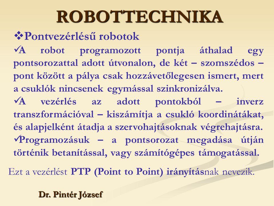 ROBOTTECHNIKA Dr. Pintér József  Pontvezérlésű robotok A robot programozott pontja áthalad egy pontsorozattal adott útvonalon, de két – szomszédos –